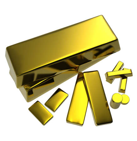 gold standard: Gold bars on a white background. Stock Photo