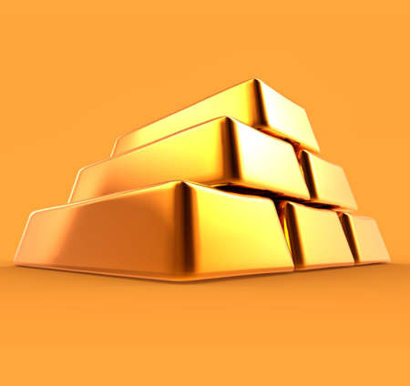 gold ingot: Gold Bars 3D Render Isolated