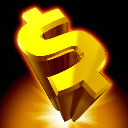 Dollar sign 3D render isolated photo