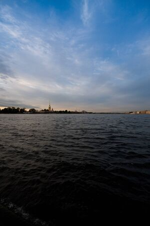 main river: Main river at St.-Petersburg with evening sky