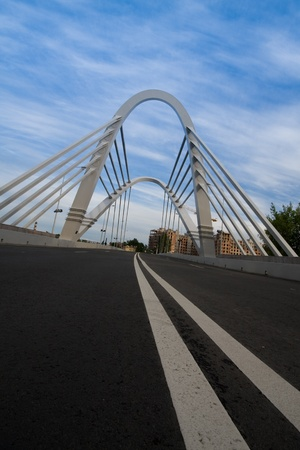 piter: A new cable-stayed bridge at St.-Petersburg, Russia Stock Photo