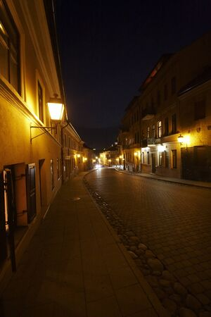 Street with pavement at the night   photo