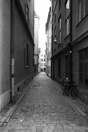 Medieval narrow street at Stockholm, Sweden   photo