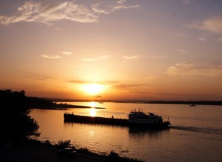 Ship at the sunset river Volga (Volgograd, Russia)   photo