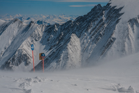 Directions sign of the slopes in the mountains Stock Photo