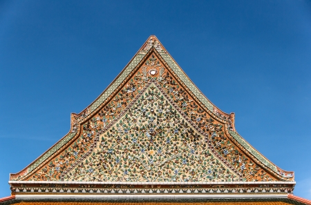 The top part of traditional Thai Chinese style architecture church in Thailand  Stock Photo