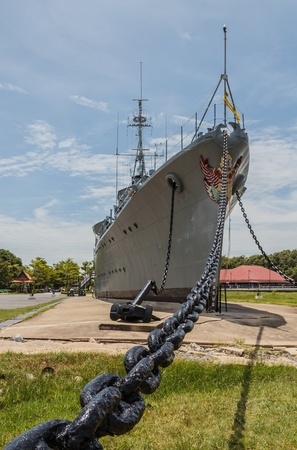 Battleship memorial at Samuthprakarn Thailand in sunny day Stock Photo - 14681499