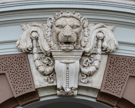 Head of lion decorated over the arch door