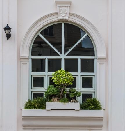 glasscheibe: Arch-Fenster mit Bonsai Dekoration und Straßenlaterne Reflexion