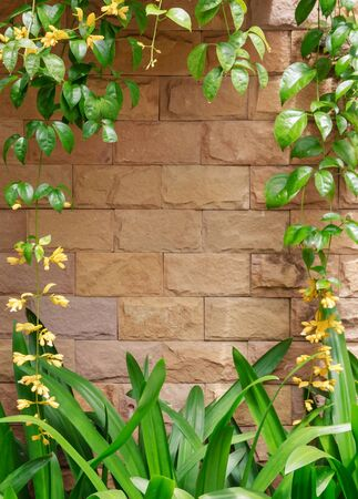 Brown bricks wall with yellow flowers frame. photo