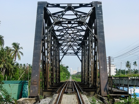 Old Railway Bridge Leading to Downtown  Bangkok, Thailand  photo