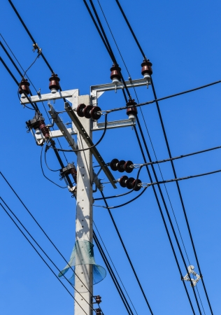 Electric pole with powerlines against bright blue sky with snake protector Stock Photo