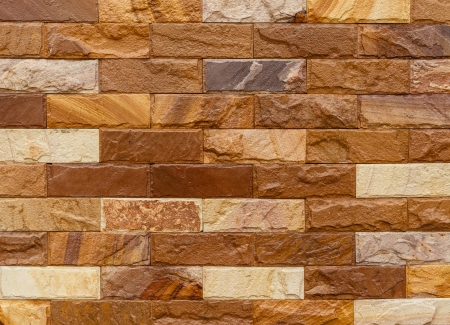 Brown Bricks Wall Pattern, Closeup, Showing Texture Stock Photo