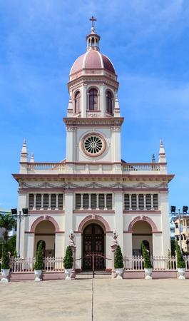 Santa Cruz Catholic Church in Bangkok, Thailand with Blue sky Background