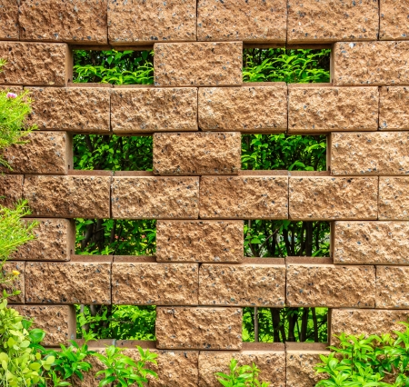 Old Brown Brick Fence with Green Leaves, Vertical Pattern Stock Photo - 16878267