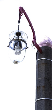 Street Lamp showing Traditional Glass Lantern with Energy Saving Bulb photo