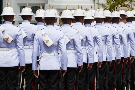 Thai Royal Guards Prepare for Marching in the Grand Palace, Bangkok