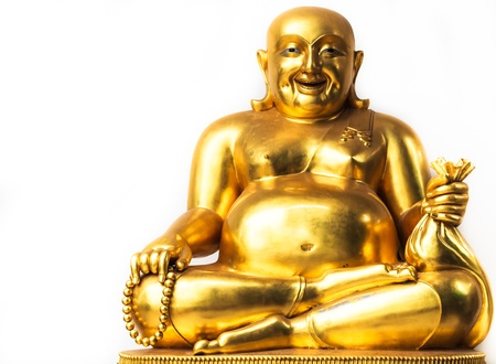 Smiling Buddha, Chinese God of Happiness, Wealth and Lucky, Copy space on left photo