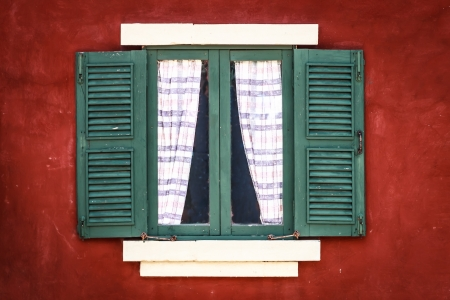 Old Green Window with Curtain on Red Wall, Vignette photo