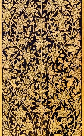 Ancient Traditional Thai Style Painting in Gold Color