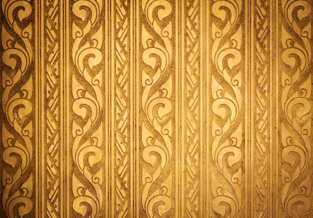 Thai Traditional Carving in Contemporary style on Gold Plate Background, Horizontal Pattern photo