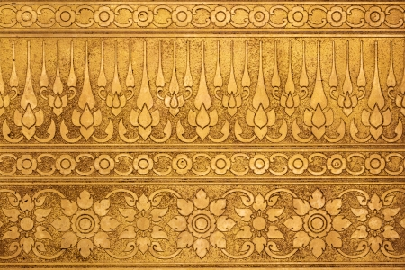 Old Gold Metal Plate with Thai Traditional Carving in Contemporary style