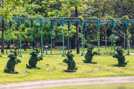Topiary Elephants in Tropical Park, Bangkok, Thailand. photo