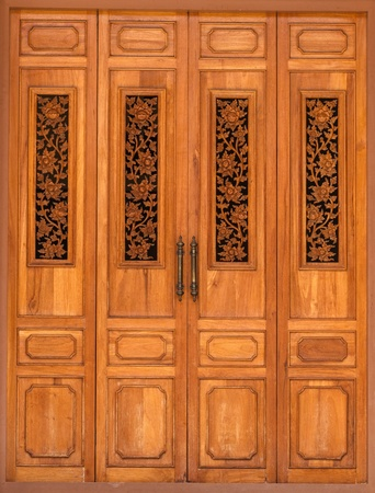 wood carvings: Wooden Door decorated with Floral Wood Carvings