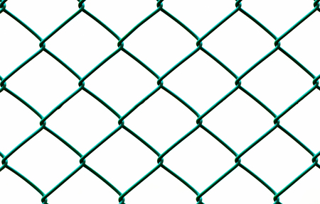 Green Wire Fence isolated on White Background, Horizontal pattern photo