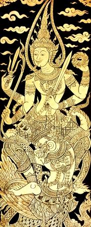 Vishnu on Karuda, Traditional Thai Style Painting on Temples Door photo