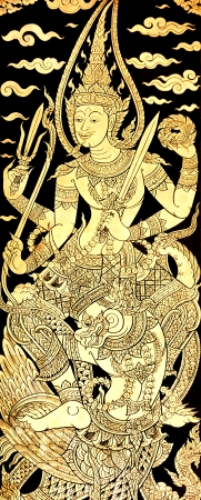 Vishnu on Karuda, Traditional Thai Style Painting on Temples Door