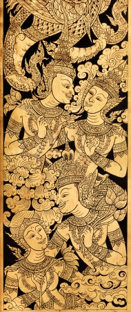 Couple Angel in love, Traditional Thai Style Painting on Temples Door photo