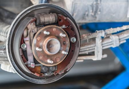 brake: Rusty Drum Brake waiting for Maintenance in Service Garage, closeup Stock Photo