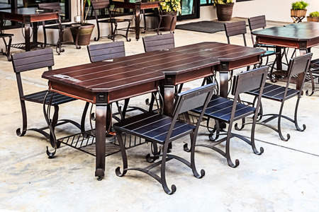 dining table and chairs: Dining Table and Chairs in Outdoors Stock Photo