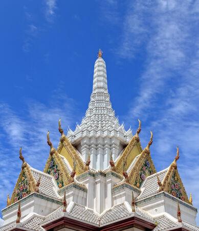 White Stupa against Blue Sky, Bangkok, Thailand