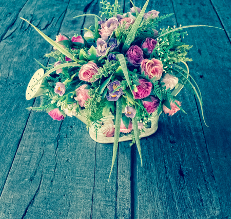 watering pot: Roses Bouquet in Watering Pot, Vintage style