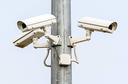 Security Cameras on White Background, CCTV Camera photo