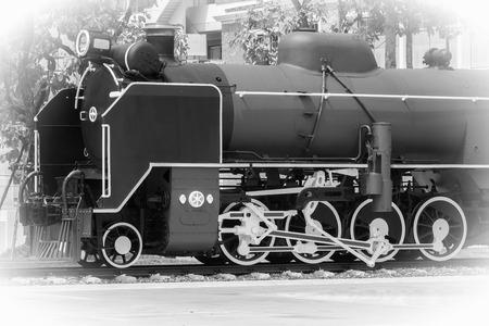 Steam Engine Locomotive in Black White photo