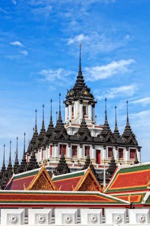 Thai Architecture, The Metallic Temple   Wat Ratchanadaram with Bronze Roof, Bangkok, Thailand