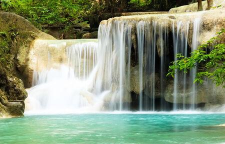 Deep Forest Waterfall at Erawan Waterfall National Park, Kanchanaburi, Thailand