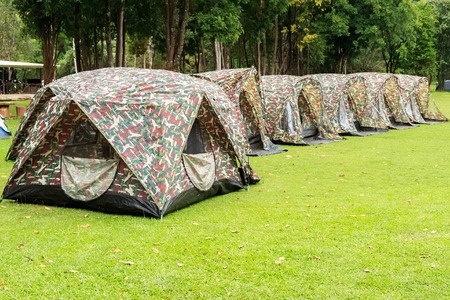 Camouflage Tents in Camping Site