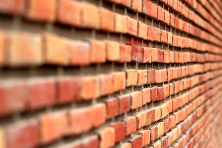 old brick wall: Brick wall Perspective Background, Focus on Center in Natural Color Stock Photo