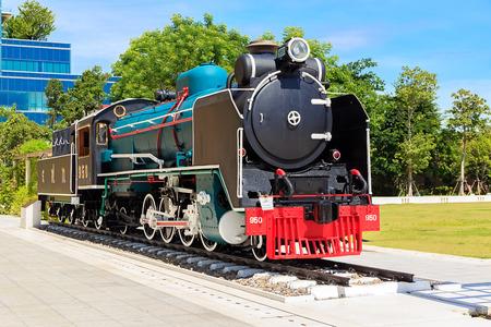 Mikado Steam Locomotive, 2-8-2 Wheel type in Siriraj Museum, Bangkok, Thailand. Editorial
