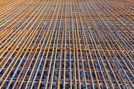 Steel Rebar for reinforced the concrete bridge at the construction site photo