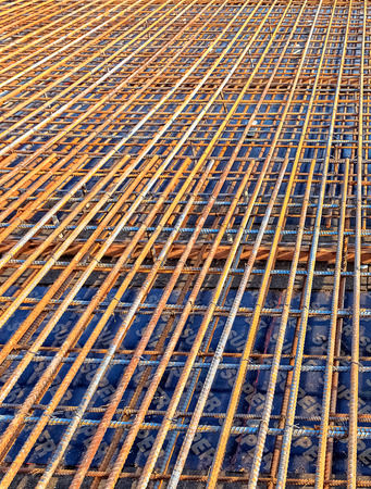Perspective of Steel Rebar for reinforced the concrete at the construction site photo