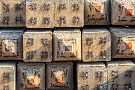 precast: Precast Concrete piles with Steel Tip, Closeup