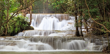 Beautiful Waterfall in Kanchanaburi Province, Thailand photo