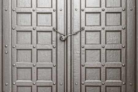 Vintage Gate with Chain Key Lock, Closeup Stock Photo