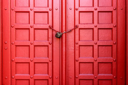 Old Red Wooden Gate with Chain Key Lock Stock Photo