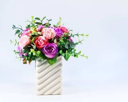 Colorful Roses Bouquet in Vase, Artificial Flowers photo